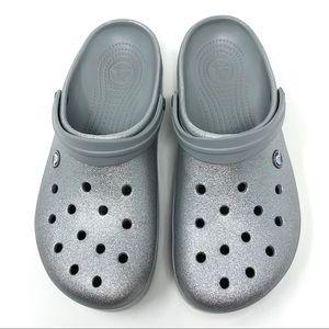 Crocs Adult Unisex Metallic Silver Women 12 Men 10